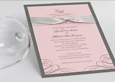 Wedding Invitation with Ribbon, Light Pink, Grey