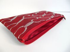 Red Zipper Pouch Pencil Case Recycled Necktie by AscotHandbags, $13.50