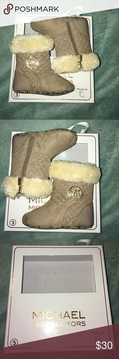 Size 3 baby boots Super cute baby girl boots. In good condition still and comes with the original box! Michael Kors Shoes Baby & Walker