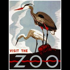 Visit the zoo. Pennsylvania : Federal Art Project, W., [between 1936 and Poster promoting the zoo as a place to visit, showing two herons. Work Projects Administration Poster Collection (Library of Congress). Retro Poster, Poster Vintage, Vintage Travel Posters, The Zoo, Wpa Posters, Gravure Illustration, Tourism Poster, Travel Tourism, Kunst Poster