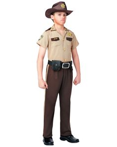 The Walking Dead Rick Grimes Boy's Costume exclusively at Spirit Halloween - Lead the pack to survival on Halloween when you wear this officially licensed Walking Dead Rick Grimes Boys Costume. Sheriff outfit comes complete with shirt and functional pockets, badge, pants with belt loops, hat and belt. Take aim and fire away in this classic ensemble! Make it yours for $39.99.