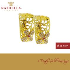 #‎Nathella‬ ‪#Featured  Earings subtly define your style and fashion. This pair of trendy gold #earring is a perfect wear for a semi formal event best worn with a traditional outfit. Try it on at any +nathellajewellery outlet today or shop online http://www.nathella.net/collections/gold/gold-earrings/trendy-gold-earring-with-studded-flower.aspx