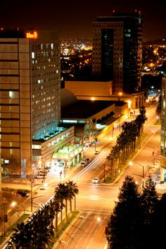 Silicon Valley's City Center, San Jose, California: Almaden Blvd. at night