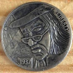 CHAD SMITH HOBO NICKEL - SCROOGE - 1937 BUFFALO NICKEL Hobo Nickel, Buffalo, Cactus, Coins, Carving, Art, Art Background, Rooms, Wood Carvings