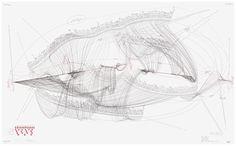 WV 2012-146 Ludwig van Beethoven/ Sonate Nr. 7 (Opus 10 Nr. 3 ) Presto 2/4 Largo e mesta 6/8 Allegro 3/4 Allegro 4/4 Himmelsrichtung N-S; 4 externe Zentren; 2 interne Zentren; Extract Intonation; Rotationsrichtung/ Rotationsgeschwindigkeit; Beat Jorinde Voigt Berlin 2012 86,5 x 140 cm Tinte, Bleistift auf Papier Unikat Signiert