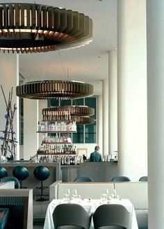 Skylon, the main restaurant within the Royal Festival Hall on London's Southbank. Bar Interior, Interior Concept, Interior Lighting, Restaurant Concept, Cafe Restaurant, Restaurant Design, Architecture Restaurant, Interior Architecture, Commercial Interior Design