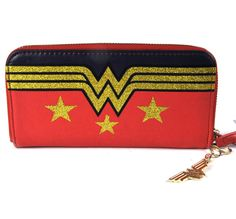 Official DC Comics Wonder Woman Gold Glitter Logo Clutch Purse Wallet $28