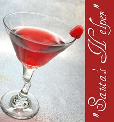 Santa's Helper--1 oz Vodka, 1/2 oz Amaretto & 3 oz Cranberry juice    Combine all ingredients with ice in a cocktail shaker and strain into a martini glass. Garnish with a gumdrop.