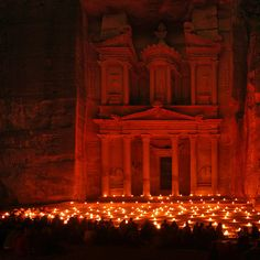 Petra - Jordan (at night) I've been here and I've seen this. Most magical place I have ever been. The thousands of lights are hand lit by the Bedouins who live in and around Petra and only on certain nights. Places Around The World, Oh The Places You'll Go, Places To Travel, Places To Visit, Around The Worlds, What A Wonderful World, Beautiful World, Beautiful Places, Amazing Places