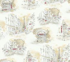 York Wallcoverings EU4788 Black and White Book Paris Toile Wallpaper Cream / Taupe / Black / Rosy Red Home Decor Wallpaper Wallpaper