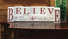 'Believe in the Miracle' Block Set #Christmas #Decor