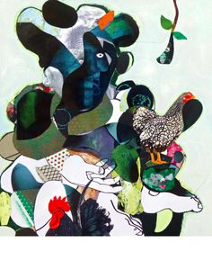 Man with hen and cock, Collage on canvas : acrylic, radiography, photo on paper, linogravure, various impression on paper, stickers, 116 x 89 cm., THE CARLOS REID GALLERY