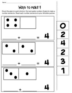 WAYS TO MAKE 4 - MATH COMPOSING NUMBER WORKSHEET - TeachersPayTeachers.com FREE RESOURCE Great for homework!