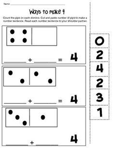 WAYS TO MAKE 4 - MATH COMPOSING NUMBER WORKSHEET - TeachersPayTeachers.com FREE RESOURCE Great for homework!