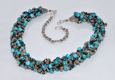 12 Strand Kumihimo Turquoise and Sterling Braided Necklace by judedesignstudio…