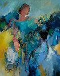 by Marije van Toledo Oil Pastel Paintings, Indian Art Paintings, Painting People, Figure Painting, Blue Abstract Painting, Ligne Claire, People Art, Art Techniques, Graphic Design Art