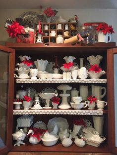 Milk glass collection Christmas Display 12/15