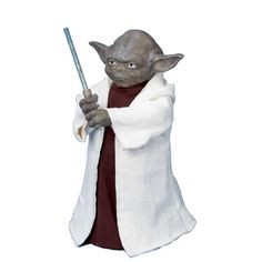 #trendy Festive tree topper in the likeness of beloved #Star Wars character, Yoda. Crafted of resin, Fabrich mache, and plastic. Saber lights up with an LED ligh...