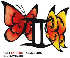Gemini tattoo: sign with butterflies