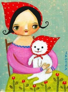 BABUSHKA and little white dog Nursery room art cute folk by tascha