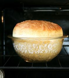 Peasant Bread ~ The Best Easiest Bread You Will Ever Make. It's a no-knead bread. It bakes in well-buttered pyrex bowls and it emerges golden and crisp. It's spongy and moist with a most-delectable buttery crust ~ Mmmmm Fresh bread for brunch yum! Think Food, I Love Food, Good Food, Yummy Food, Tasty, Peasant Bread, Do It Yourself Food, Great Recipes, Favorite Recipes