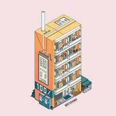 Digital Doodles by Ronald Kuang. Ronald Kuang is an illustrator doing digital doodles and digital painting from Mainland, China. Isometric Art, Isometric Design, Aesthetic Drawing, Aesthetic Art, Posca Art, 8bit Art, Cute Art Styles, Building Art, Cute Illustration