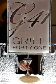 Branded ice sculpture at the Grill 41 2010 grand opening.