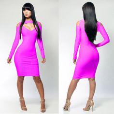 Womens Dresses Sexy Lingerie Clubwear Long Sleeve Open Chest Shoulder Party Dress Slim Bodycon Summer Wear  H2437Z