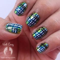 A blue and green plaid/tartan nail art design for #HePicksMyPolish September, by Nail Envy.