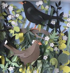 I love these blackbirds! Helen Musselwhite is making fabulous paper cuttings...