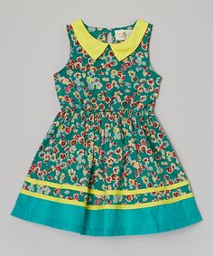 Another great find on #zulily! Green & Yellow Floral Dress - Toddler & Girls by FruitFactory #zulilyfinds