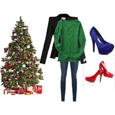@Brittany Polk, for my Christmas Eve outfit, blue shoes, red shoes, or none of it?  Lol.