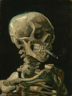 Head of a Skeleton With a Burning Cigarette by Vincent Van Gogh - 1886 - 30.0 cm x 40.0 cm, 0.0 inches x 0.0 inches