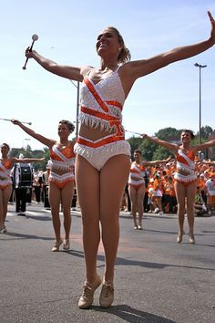 former Tennesse feature twirler adria farr with the rest of the Tennessee majorettes
