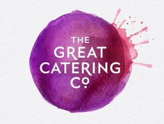 The modern style catering logo employs contrast through the use of colour; by using few and similar colours the artist has made the white text stand out. The logo would've firstly been roughly sketched, then the use of water colours would have been applied to finalize the colours.