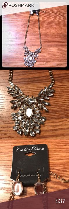 Boutique Statement Necklace Set This Nadia Rima Statement Necklace set is a brand new Boutique item. The silver stones shine off of the gold chain and are paired with matching fish hook earrings. The chain is adjustable to different lengths. Perfect gift this holiday season! Ships same or next day from a smoke free home! Nadia Rima Jewelry Necklaces