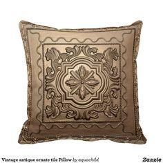 Vintage antique ornate tile Pillow
