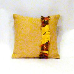 Yellow Scarf Ruffle Pillow by vintagerenewal on Etsy