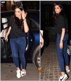 Deepika Padukone was spotted at Soho house today. Casual College Outfits, Cute Preppy Outfits, Celebrity Casual Outfits, Classy Outfits, Bollywood Girls, Bollywood Fashion, Bollywood Celebrities, Deepika Padukone Style, Sneakers Fashion Outfits
