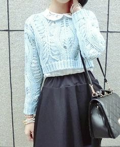 Casual Solid Color Long Sleeves Hollow Out Sweater For Women