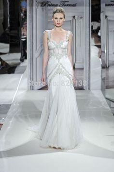 Hot Sale Sexy A Line Floor Length Bridal GownVestidos De Noivas 2014Appliques