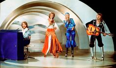 ABBA performs during the the Eurovision Song Contest 1974 on February 09, 1974 in Brighton with their song Waterloo.