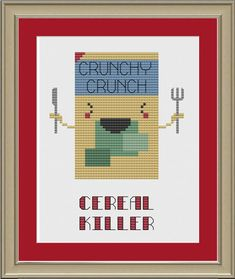 Cereal killer funny crossstitch pattern by nerdylittlestitcher, $3.00