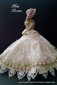 Porcelain Half Doll, Pincushion, Dresser Doll, Boudoir Doll, OOAK Signed & Dated, Shabby Chic Decor, Art Doll, Victorian Fashion