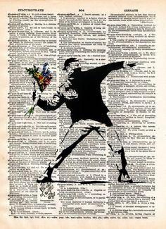 Banksy Flower Bomber, street art, vintage dictionary page book art print