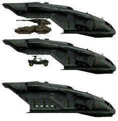 This is a digital concept art illustration of the Pelican Troop Carrier from the Halo series. The thing that I like about this piece of work is how the illustrator has shown the Pelican and then the different variants of how it appears in size compared to the Scorpion Tank, Warthog and additional Troop space.