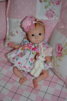 Original Art OOAK Polymer Clay baby doll girl 5.5 Vasilisa  by Yulia Shaver