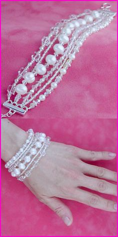 Elegant 6 Strand Swarovski Crystal & Pearl Bracelet $325, I need to find a cheap knock off