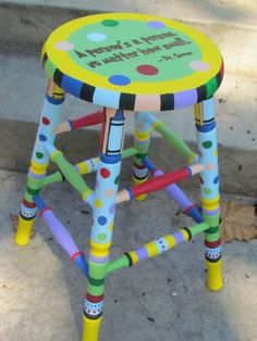 1000 Ideas About Painted Teacher Stool On Pinterest