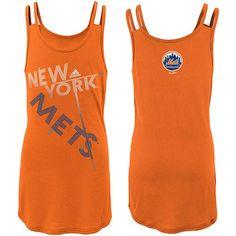 New York Mets adidas Youth Girls Wild Pitch Tunic Tank Top - Orange